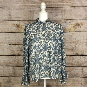 ASTR The Label Long-Sleeve High-Neck Floral Top